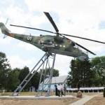В Пружанском районе установили пьедестал с вертолётом «Ми-24» (ФОТО)